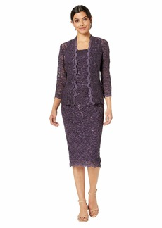 Alex Evenings Tea Length All Over Sequin Lace Jacket Dress