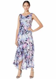 Alex Evenings Tea Length Printed Dress with Embellished Cowl Neckline