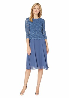 Alex Evenings Tea Length Sequin Lace Mock Dress
