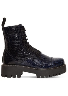 Alexa Chung 30mm Military Croc Embossed Leather Boot