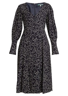 Alexa Chung Alexachung Cloud-print V-neck crepe dress