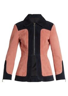 Alexa Chung Alexachung Colour-block suede jacket