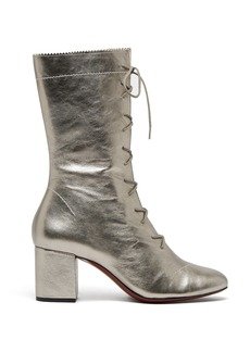 Alexa Chung Alexachung Forever metallic lace-up leather boots