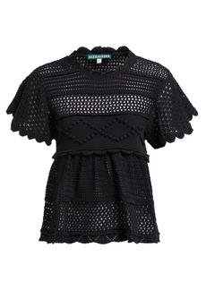 Alexa Chung Alexachung Open-back crocheted cotton-blend top