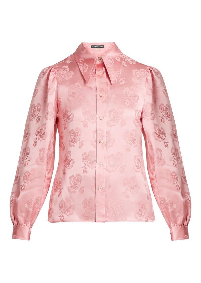 Alexa Chung Alexachung Point-collar floral-jacquard shirt