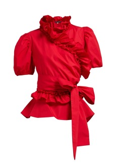 Alexa Chung Alexachung Ruffle-trimmed cotton-poplin wrap top