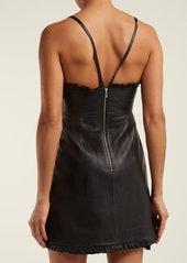 Alexa Chung Alexachung Ruffle-trimmed leather mini dress