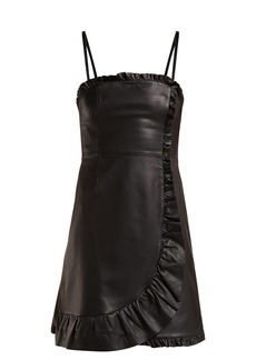 Alexa Chung Alexachung Ruffle-trimmed leather mini dress