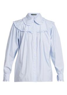 Alexa Chung Alexachung Striped frill-trimmed cotton shirt