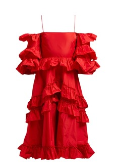 Alexa Chung Alexachung Tiered ruffle off-the-shoulder midi dress
