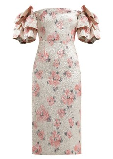 Alexa Chung Alexachung Tiered-sleeve floral-cloqué dress