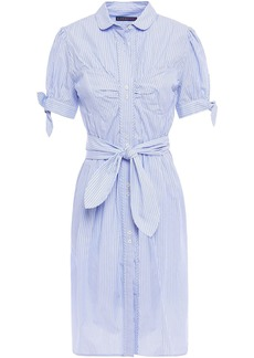 Alexa Chung Alexachung Woman Belted Gathered Striped Cotton-poplin Shirt Dress Light Blue