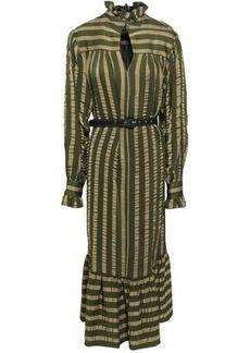 Alexa Chung Alexachung Woman Belted Satin-jacquard Midi Dress Army Green