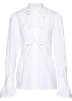 Alexa Chung Alexachung Woman Bow-detailed Cotton-poplin Shirt White