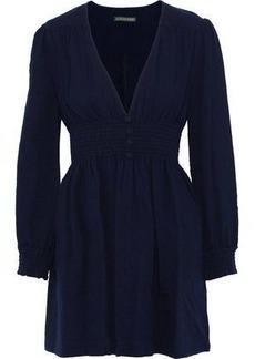 Alexa Chung Alexachung Woman Button-embellished Smocked Cotton-seersucker Mini Dress Navy