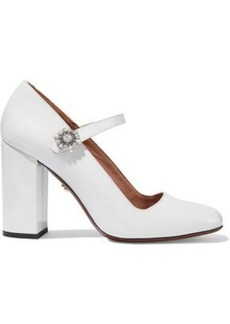 Alexa Chung Alexachung Woman Crystal-embellished Patent-leather Mary Jane Pumps Off-white