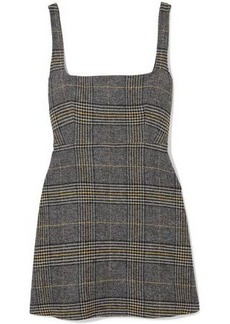 Alexa Chung Alexachung Woman Cutout Checked Woven Mini Dress Dark Gray