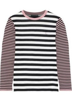 Alexa Chung Alexachung Woman Embroidered Striped Cotton-blend Jersey Top Multicolor