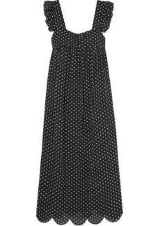 Alexa Chung Alexachung Woman Fifi Scalloped Polka-dot Jacquard Midi Dress Black