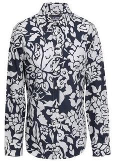 Alexa Chung Alexachung Woman Floral-print Cotton-poplin Shirt Navy
