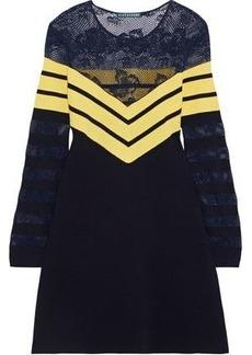 Alexa Chung Alexachung Woman Lace-paneled Striped Wool-blend Mini Dress Navy