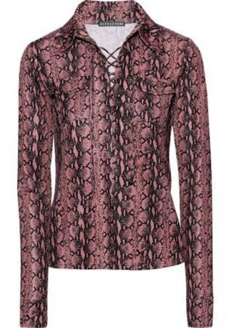 Alexachung Woman Lace-up Snake-print Jersey Top Antique Rose