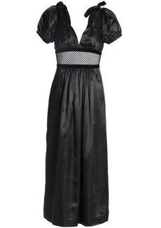 Alexa Chung Alexachung Woman Mesh-paneled Gathered Satin Midi Dress Black