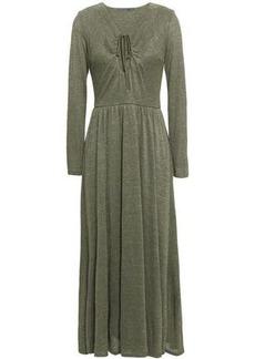 Alexa Chung Alexachung Woman Metallic Stretch-knit Midi Dress Army Green