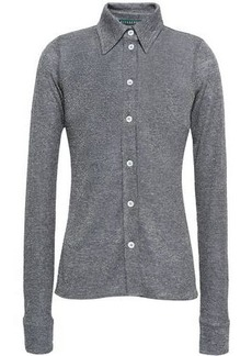 Alexa Chung Alexachung Woman Metallic Stretch-knit Shirt Dark Gray