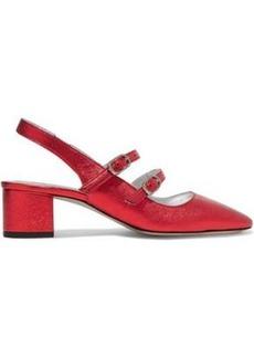 Alexa Chung Alexachung Woman Metallic Textured-leather Slingback Pumps Crimson