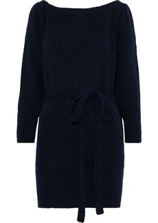 Alexa Chung Alexachung Woman Open-back Brushed Cotton-blend Cardigan Midnight Blue