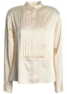 Alexa Chung Alexachung Woman Pintucked Satin-crepe Shirt Beige