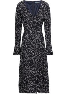 Alexa Chung Alexachung Woman Printed Crepe Midi Dress Midnight Blue