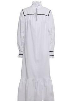 Alexa Chung Alexachung Woman Rickrack-trimmed Cotton-seersucker Midi Dress White