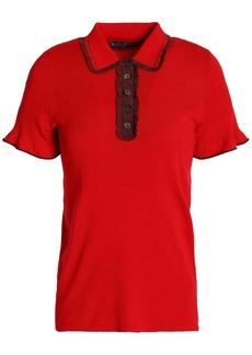 Alexa Chung Alexachung Woman Ruffle-trimmed Ribbed-knit Polo Shirt Red