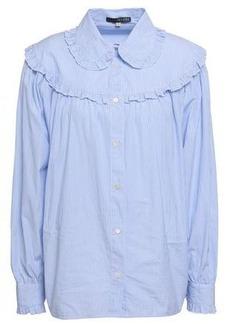 Alexa Chung Alexachung Woman Ruffle-trimmed Striped Cotton-poplin Shirt Light Blue
