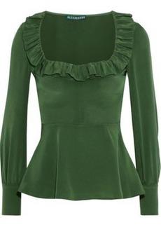 Alexa Chung Alexachung Woman Ruffle-trimmed Washed-silk Peplum Top Leaf Green