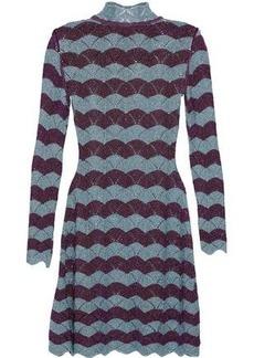 Alexa Chung Alexachung Woman Scalloped Striped Metallic Pointelle-knit Mini Dress Purple