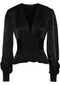 Alexa Chung Alexachung Woman Shirred Satin-crepe Blouse Black