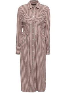 Alexa Chung Alexachung Woman Striped Cotton-poplin Midi Shirt Dress Antique Rose