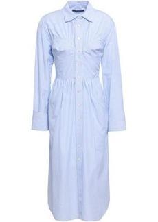 Alexa Chung Alexachung Woman Striped Cotton-poplin Midi Shirt Dress Light Blue