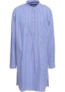 Alexa Chung Alexachung Woman Striped Cotton-poplin Mini Shirt Dress Light Blue
