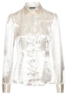 Alexa Chung Alexachung Woman Textured-satin Shirt Cream