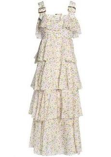 Alexa Chung Alexachung Woman Tiered Floral-print Cotton-voile Midi Dress Off-white