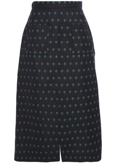 Alexa Chung Alexachung Woman Wool-blend Floral-jacquard Midi Skirt Midnight Blue