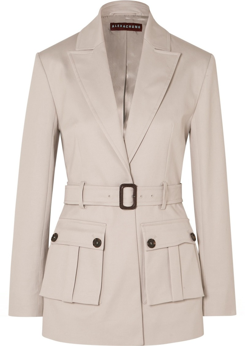 Alexa Chung Belted Cotton-blend Drill Blazer