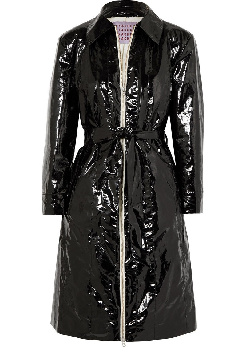 Alexa Chung Belted Crinkled Coated Cotton-blend Coat