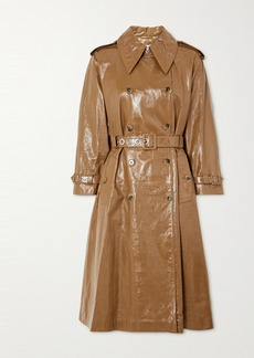 Alexa Chung Belted Double-breasted Crinkled Glossed-leather Trench Coat