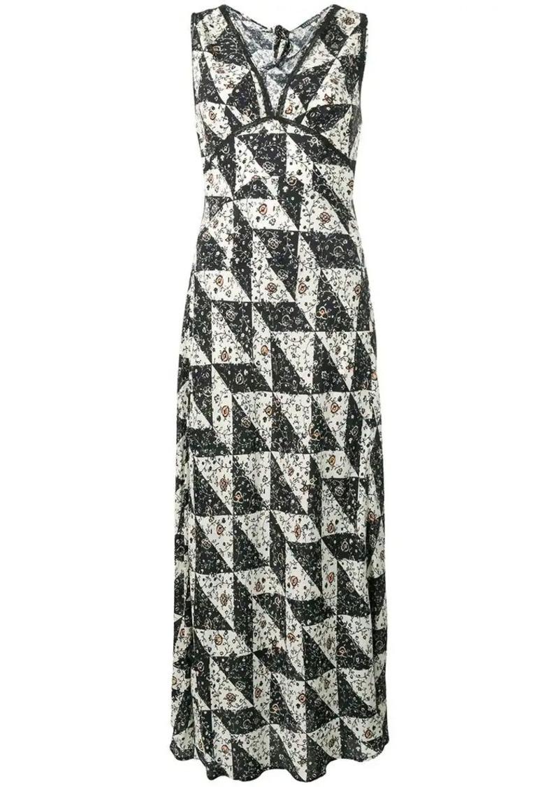 Alexa Chung Bias floral tile print dress