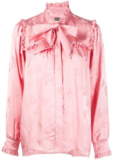 Alexa Chung bow print pussybow shirt